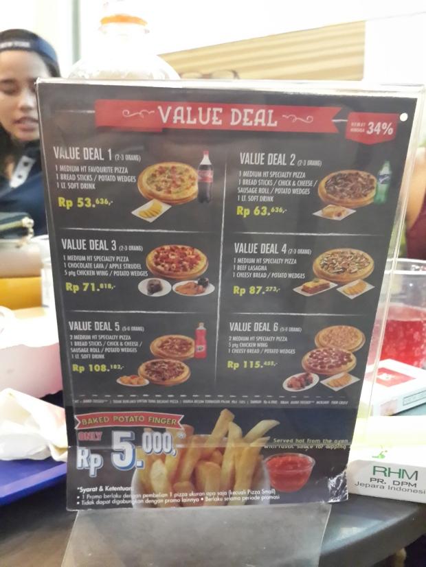 menu dominos pizza